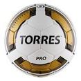 Мяч футб. ''TORRES Pro'' арт.F30015, р.5, 32 панели. PU, 4 подкл. слоя, ручная сшивка, бело-золот-че